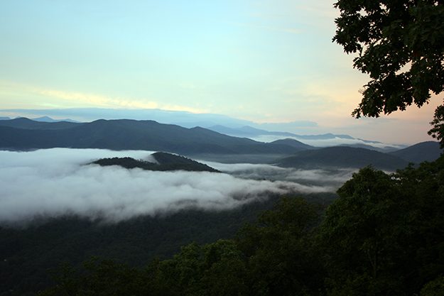 Clouds laying low over the Blue Ridge Mountains